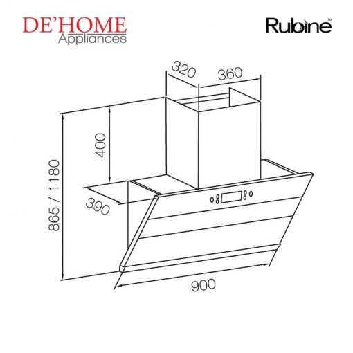 Rubine Kitchen Chimney Range Hood RCH-IA90SV-GX 02