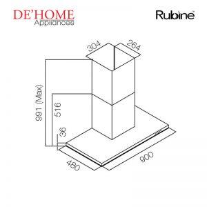 Rubine Kitchen Chimney Range Hood RCH-IA90T-GX 02