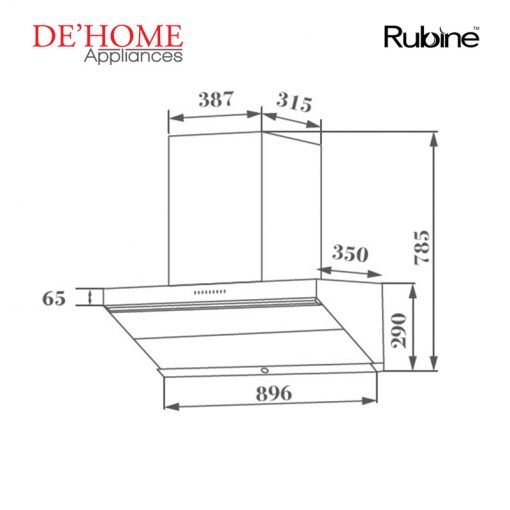 Rubine Kitchen Chimney Range Hood RCH-LESTE-BL 02