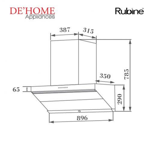 Rubine Kitchen Chimney Range Hood RCH-LESTE-BL 02