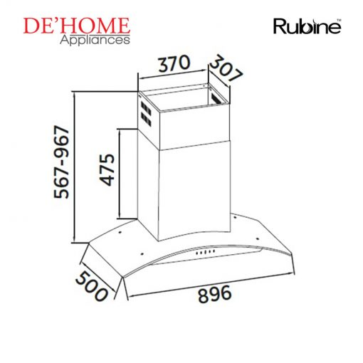Rubine Kitchen Chimney Range Hood RCH-MARIA-SS 02