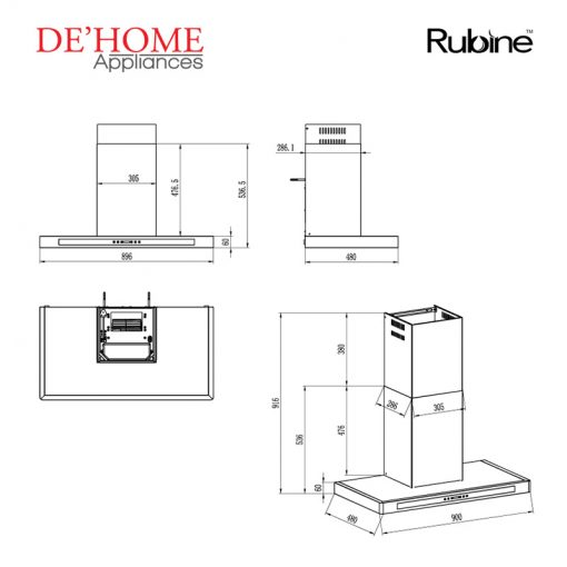 Rubine Kitchen Chimney Range Hood RCH-OLIVE-TK90 02