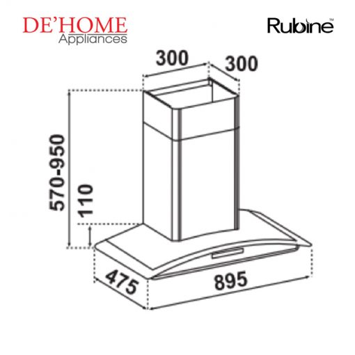 Rubine Kitchen Chimney Range Hood RCH-ONYX-90BL 02