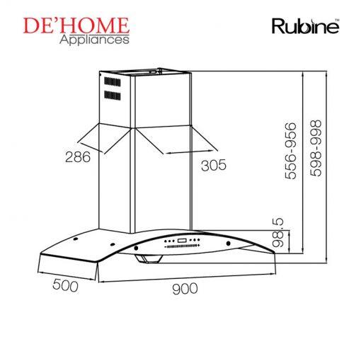 Rubine Kitchen Chimney Range Hood RCH-ROSEMARY-TK90 02