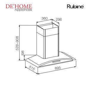 Rubine Kitchen Chimney Range Hood RCH-SAFFIRO2-90SS 02