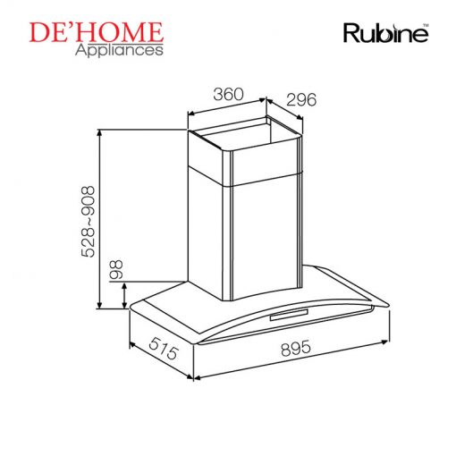 Rubine Kitchen Chimney Range Hood RCH-SAFFIRO2-90SS 02