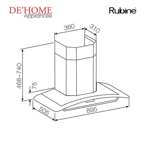 Rubine Kitchen Chimney Range Hood RCH-SAPPHIRE-90SS 02