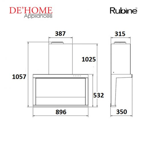 Rubine Kitchen Chimney Range Hood RCH-SIROCCO-BL 02