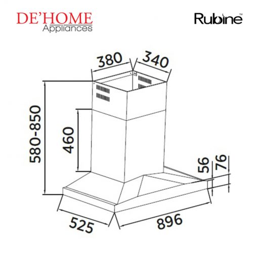 Rubine Kitchen Chimney Range Hood RCH-THORA-SS 02