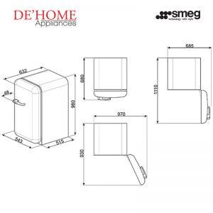 Smeg Kitchen Refrigerator Fridge FAB10RO Orange 04
